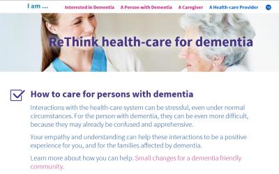 Screenshot of ReThink Dementia website