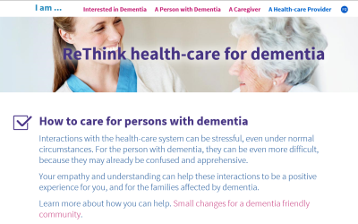 Screenshot of ReThink Dementia website