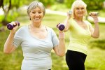 two older women exercising